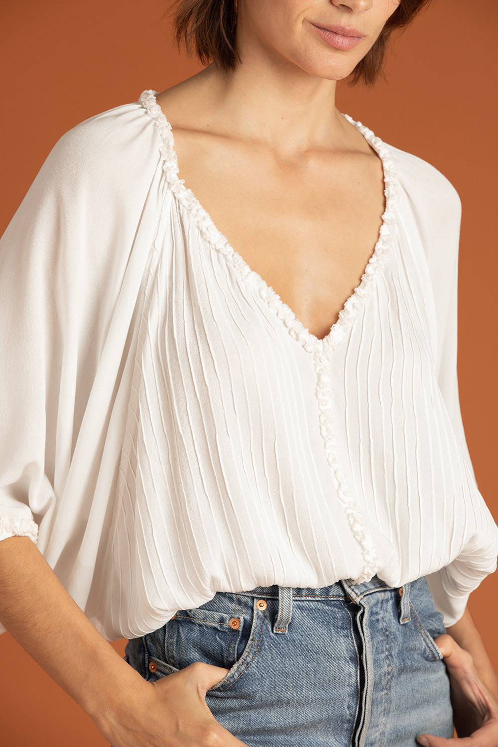 Top Blouse Paloma Ruffled - White