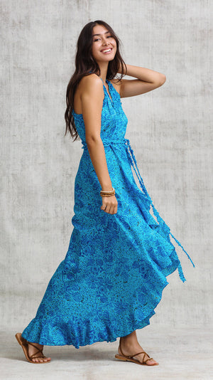 LONG DRESS TAMARA RUFFLED - BLUE PALM