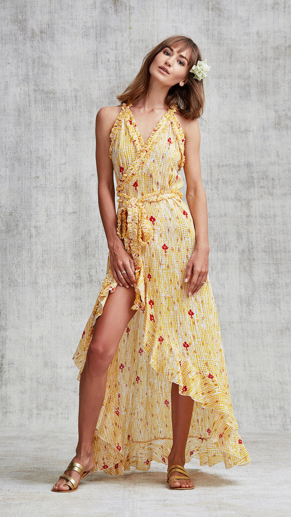 ae21883171 LONG DRESS TAMARA RUFFLED - YELLOW FANCIFUL – Poupette St Barth