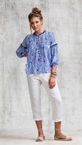 TOP BLOUSE CLARA LACE TRIMMED - BLUE FANCIFUL