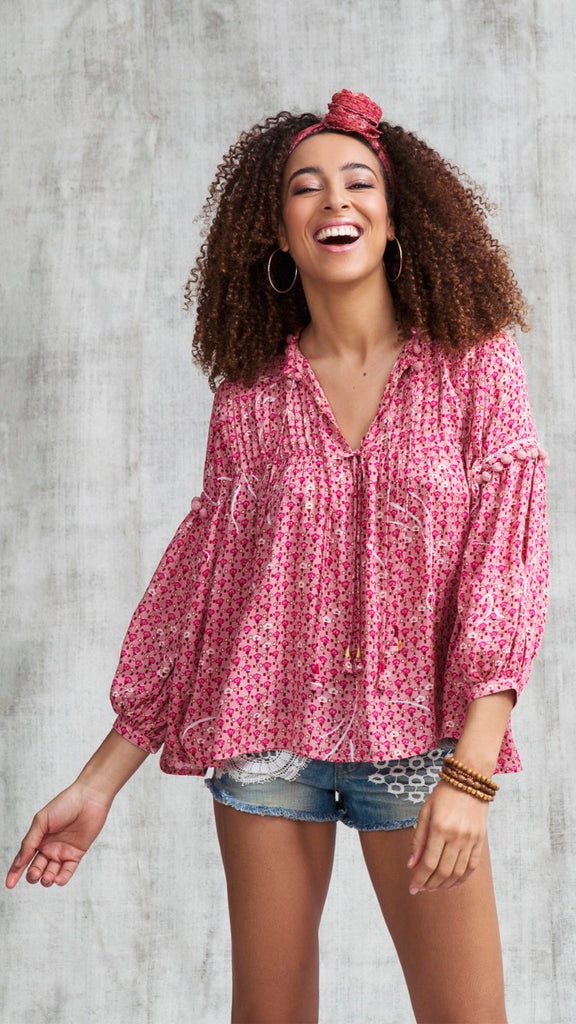 TOP BLOUSE CLARA LACE TRIMMED - RED SMALL GEO FLOWER
