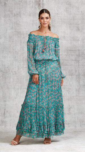 LONG SKIRT CLARA RUFFLED - GREEN EDEN