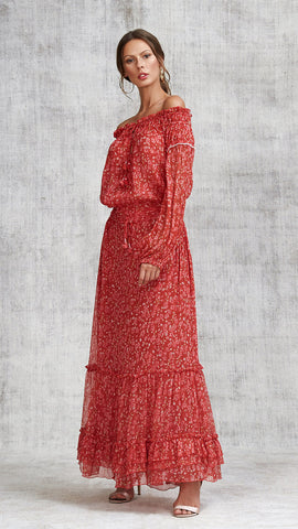 LONG SKIRT CLARA RUFFLED - RED EDEN