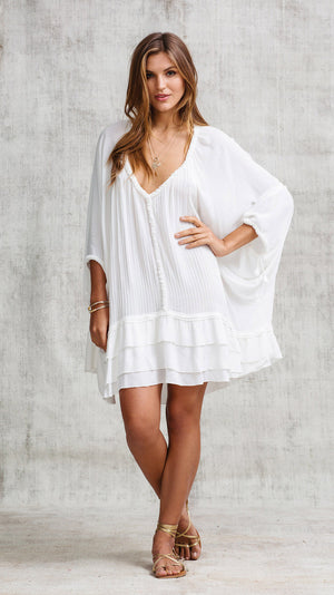DRESS PONCHO UNA PLEATED - WHITE