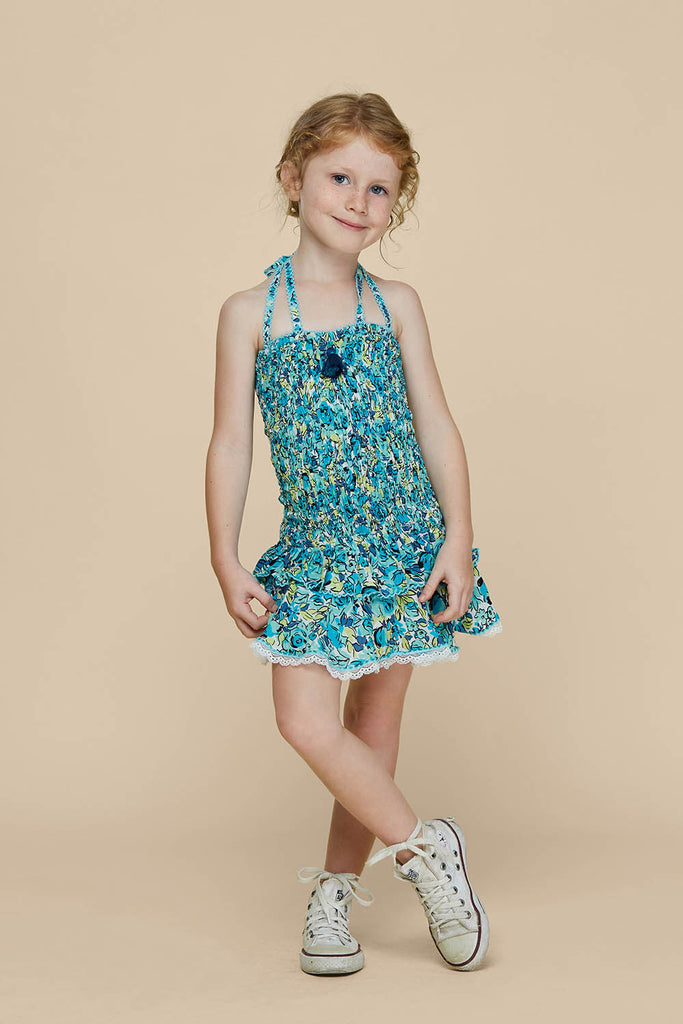 Kids Bandeau Dress Yoana Smocked - Green Rose