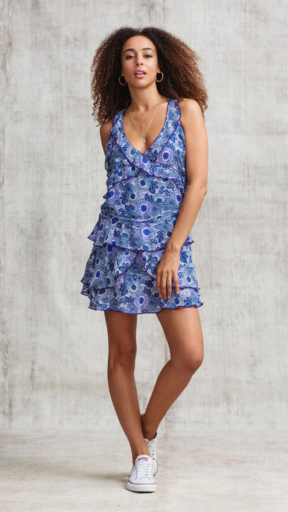 MINI DRESS YOANA RUFFLED - NAVY BEGONIA
