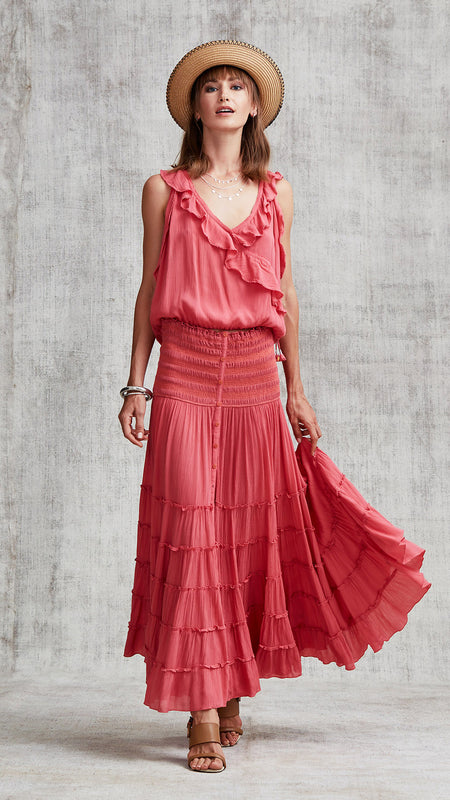 LONG DRESS ILONA FLOUNCE - PINK YVONNE