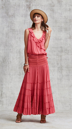LONG SKIRT FOE PANELLED - PINK