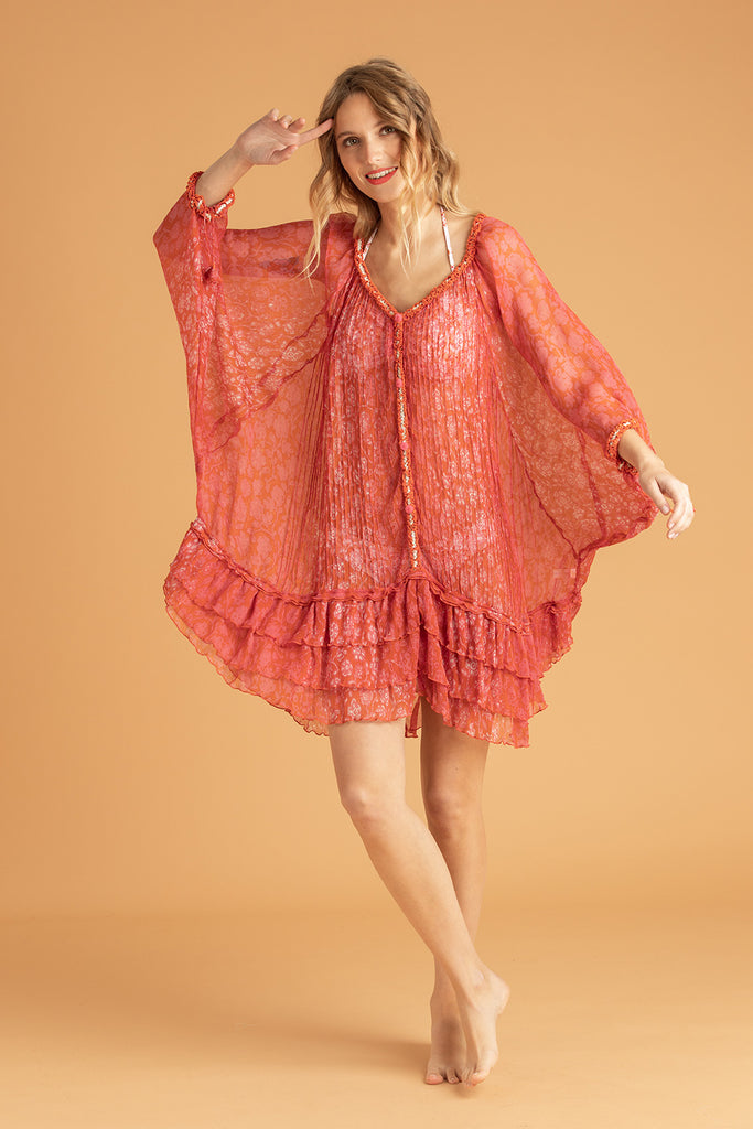 Dress Poncho Nava Pleated - Orange Egypt
