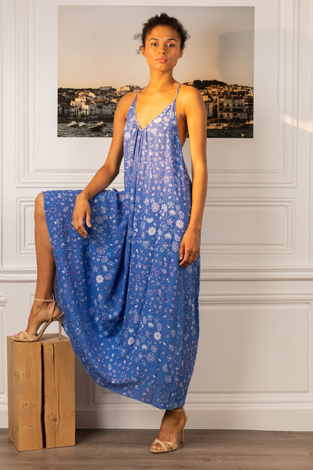 Long Dress Ilona Flounce - Blue Foulard