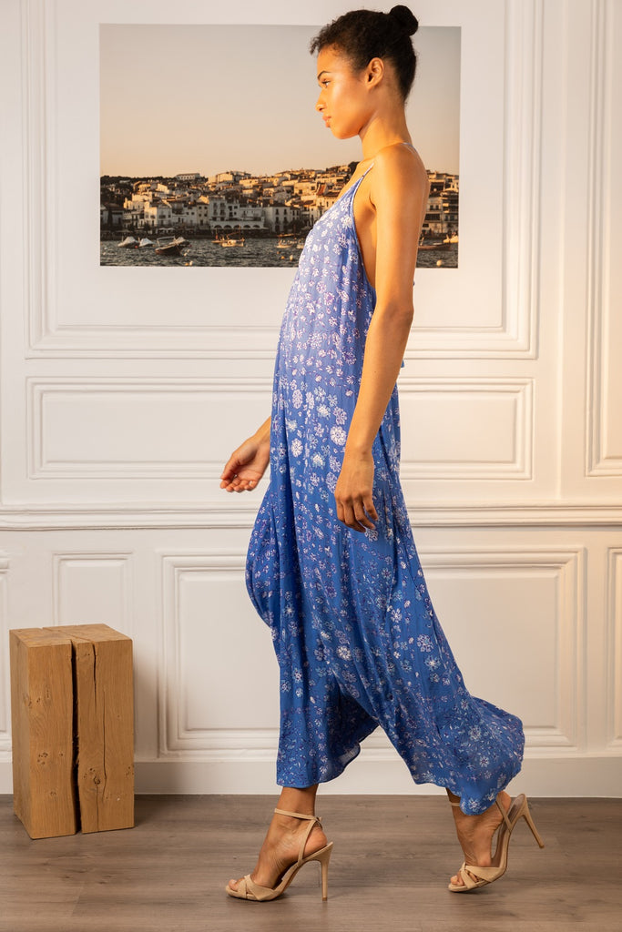 Long Dress Felicia Sleeveless - Blue Foulard