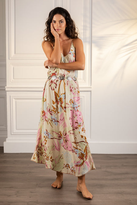 Long Dress Ivy Panelled - White Red Celery