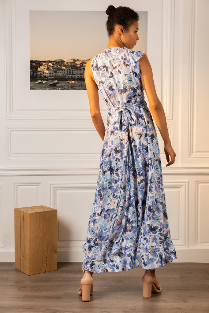 Long Dress Gwen Wrapped - White Blue Mariposa