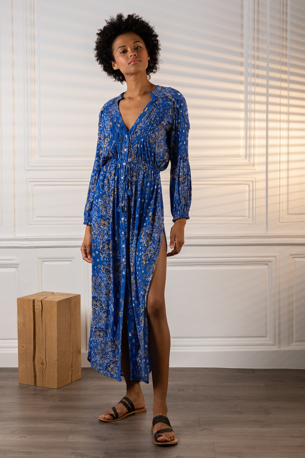 Long Dress Tunic Ilona Long Sleeve - Blue Ruellia Batik Vertical