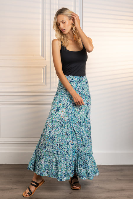 Long Dress Ilona - White Blue Foulard