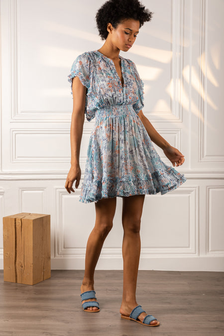 Mini Dress Sasha - Sky Blue Daffodil
