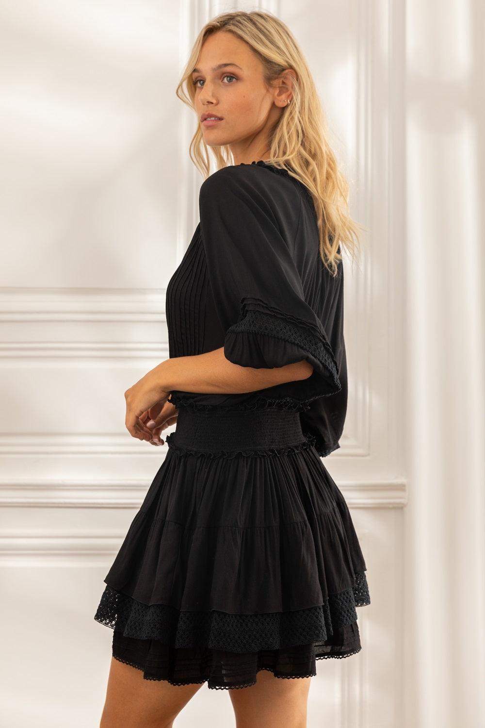 Mini Dress Ariel Pleated - Black