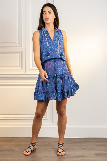 Midi Dress Sasha Lace Trimmed - Blue Ruellia Batik Vertical