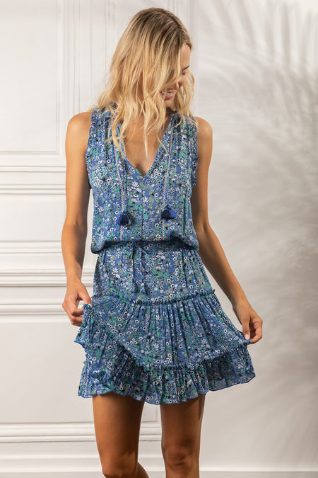 Mini Dress Sasha Lace Trimmed - White Blue Celery