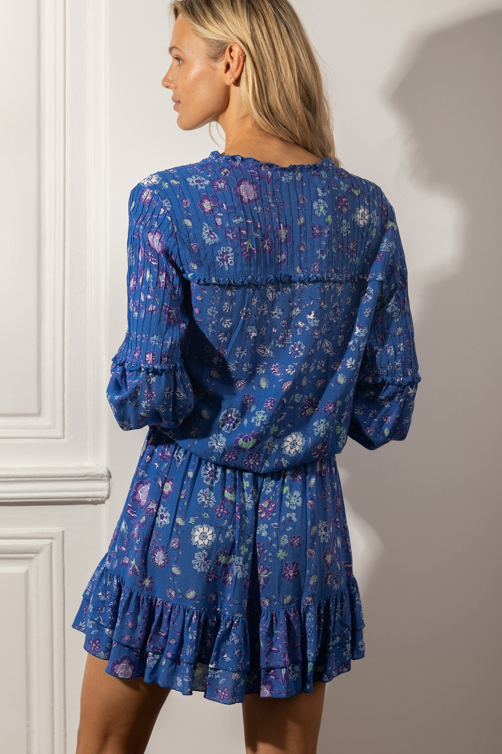 Mini Dress Ilona Long Sleeve - Blue Foulard