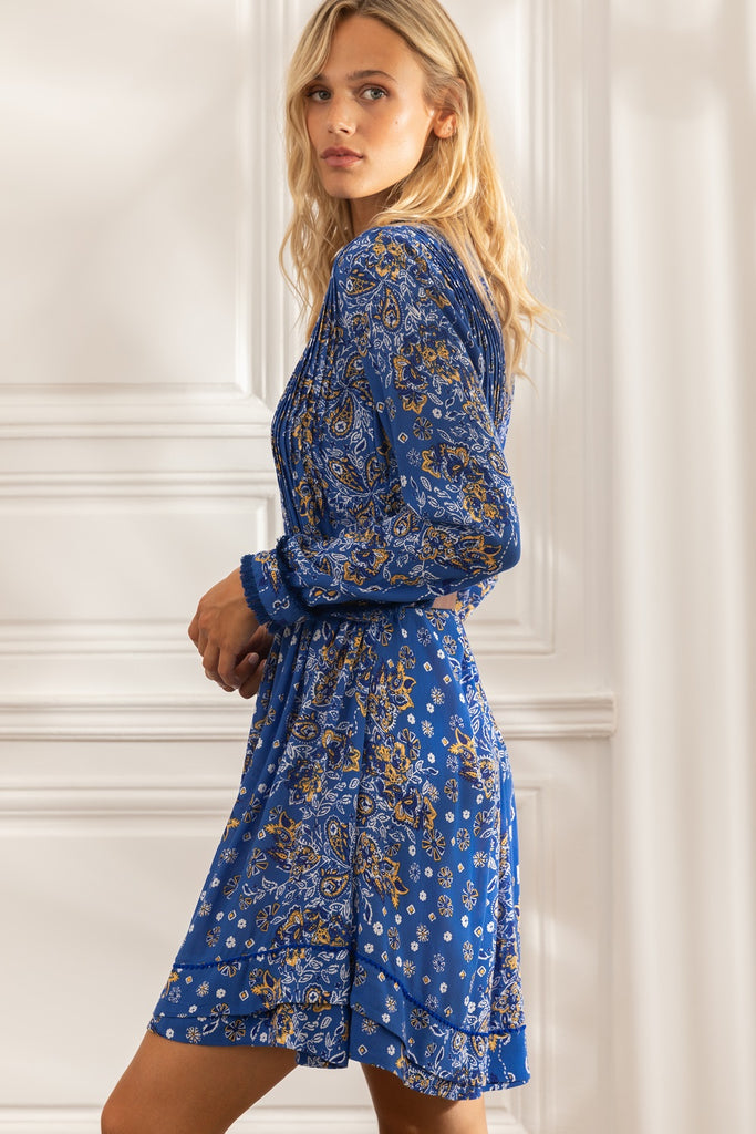 Mini Dress Ola Long Sleeve - Blue Ruellia Batik Vertical