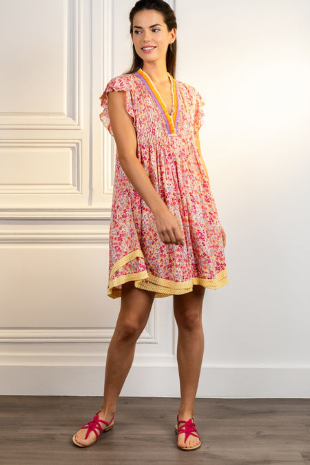 Mini Dress Clara - Pink Marigold