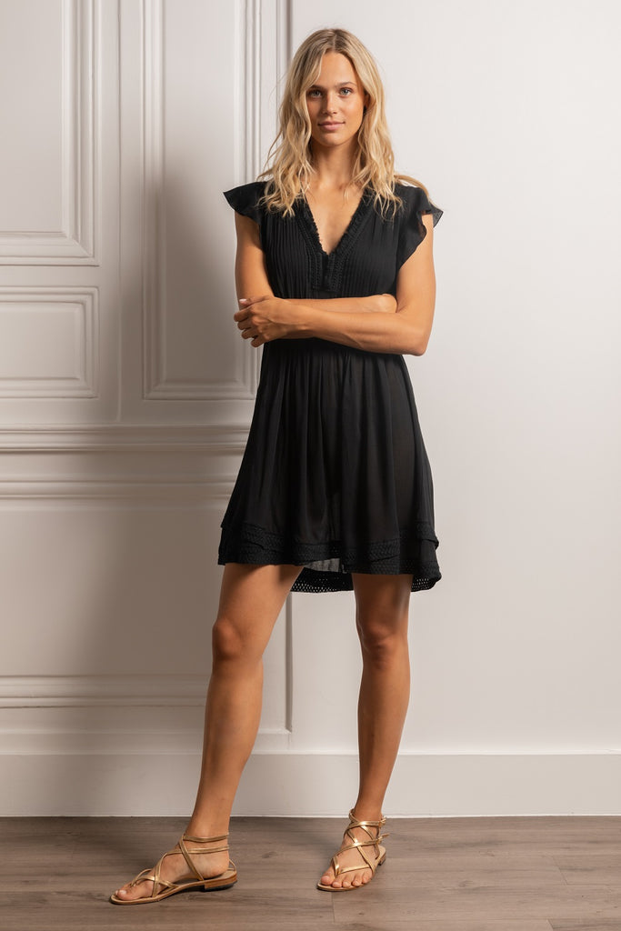 Mini Dress Sasha Lace Trimmed - R21 Black