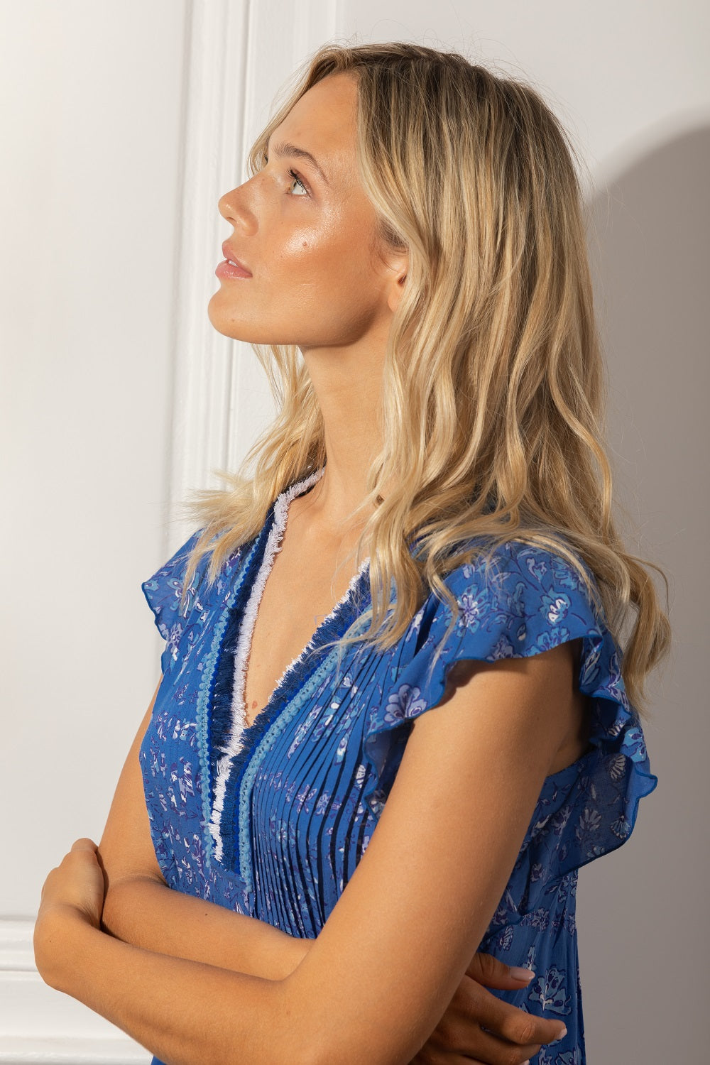 Mini Dress Sasha Lace Trimmed - Blue Foulard