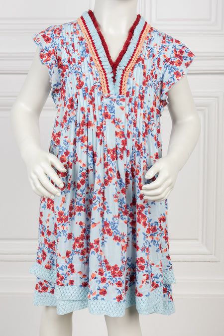 Mini Dress Sasha - White Blue Foulard