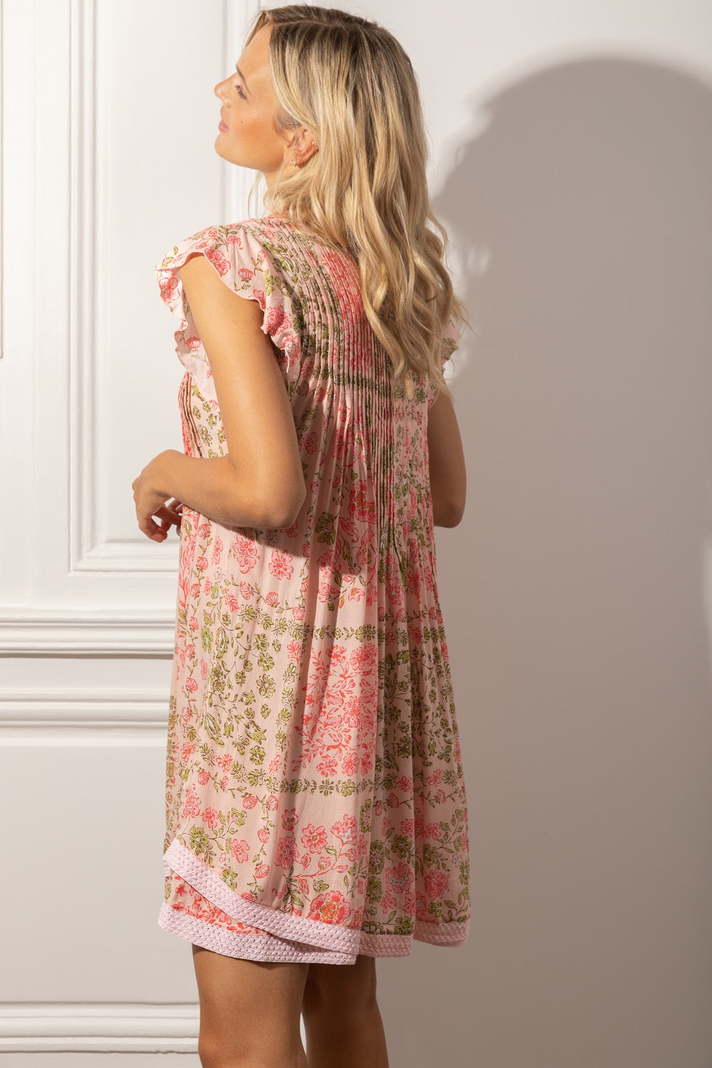 Mini Dress Sasha Lace Trimmed - Pink Foulard