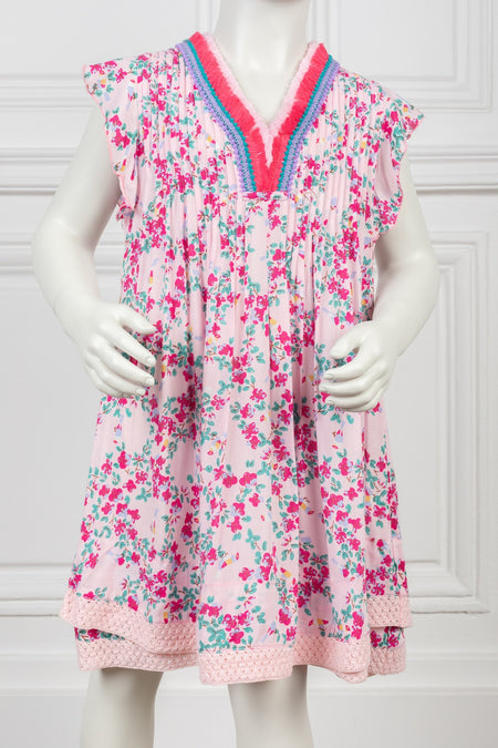 Mini Dress Soledad - White Pink Foulard