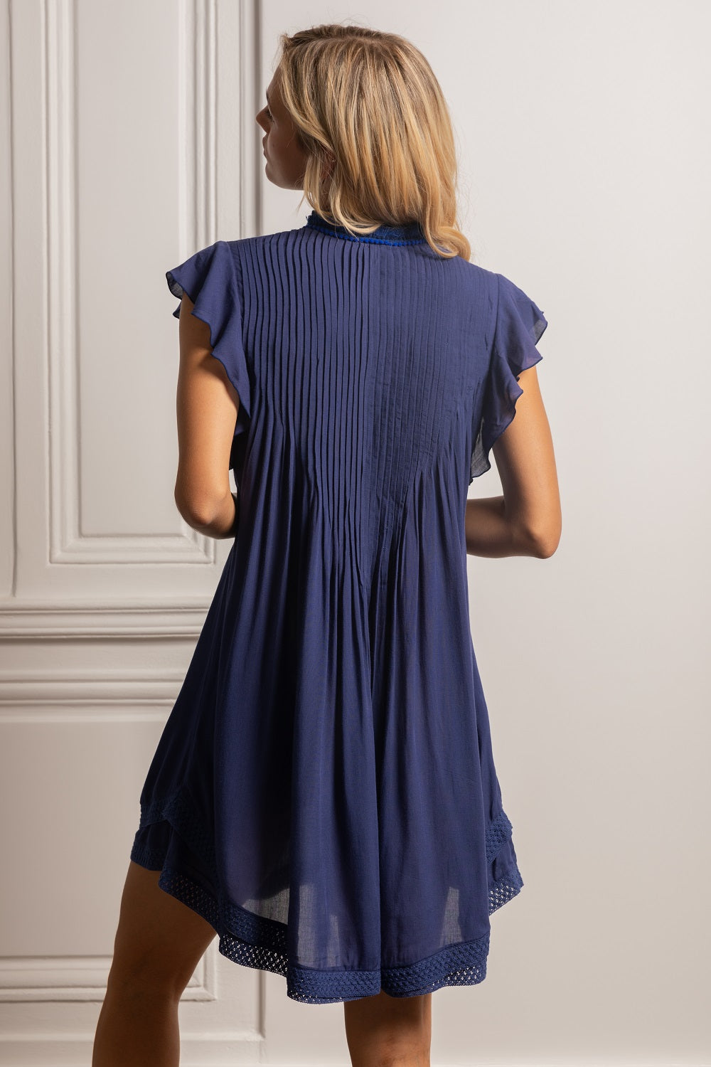 Mini Dress Sasha Lace Trimmed - Royal Blue