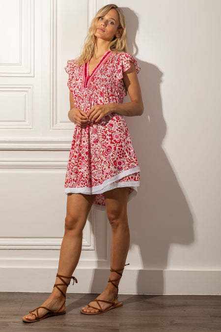 Mini Dress Camila Ruffled - White Red Celery