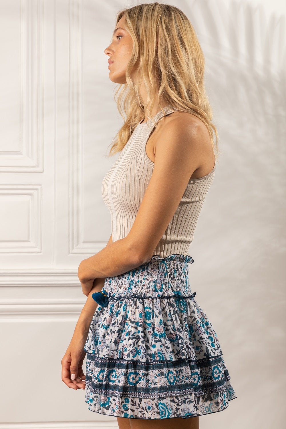 Mini Skirt Ariel Ruffled - White Navy Celery