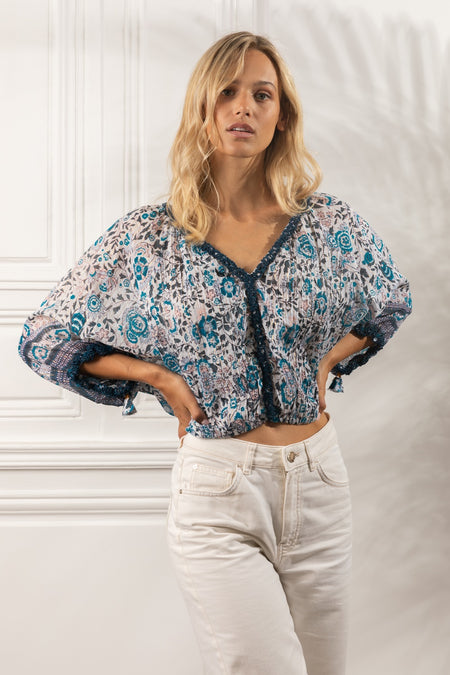 Shirt Felicia Buttoned - White Blue Jungle