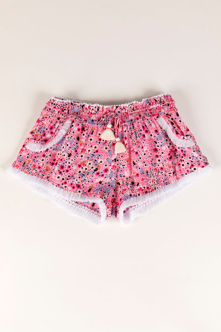 Boxer Short Rachel Ruffled - White Blue Jungle