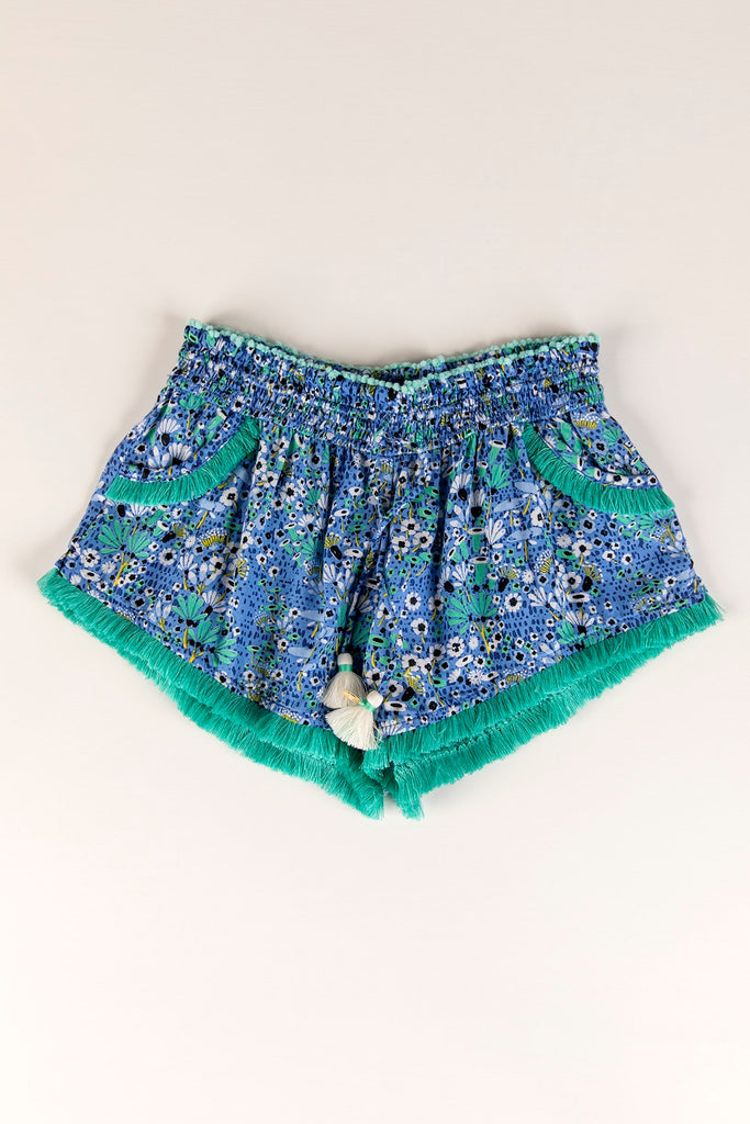 Kids Boxer Short Lulu Lace Trimmed - Blue Malva