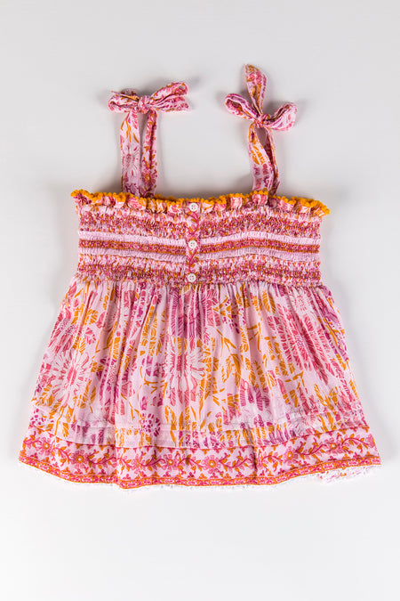 Kids Mini Dress Sasha Lace Trimmed - Pink Kookoo Bird