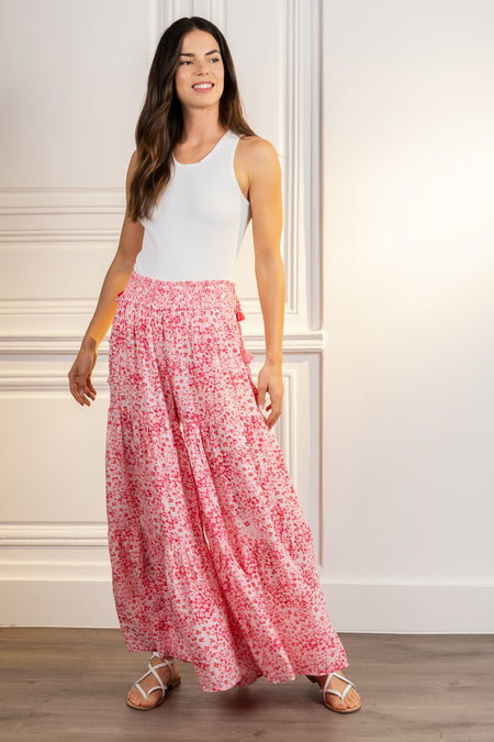 Long Dress Ilona - White Pink Foulard