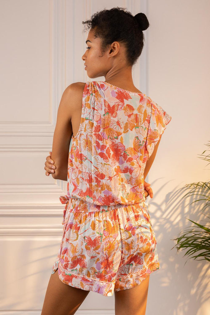 Short Jumpsuit Gwen Ruffled - White Orange Mariposa