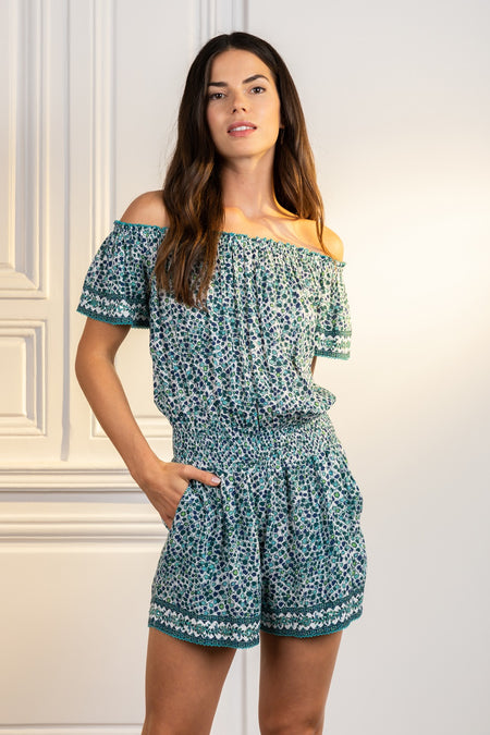 Long Jumpsuit Soledad V Neck - Green Tulip