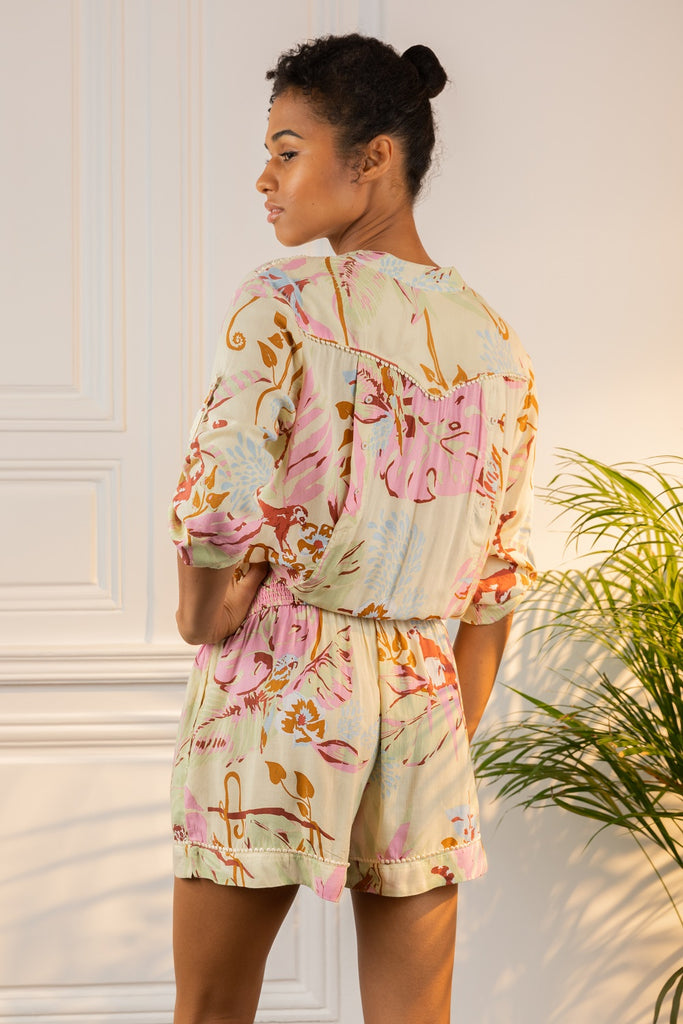 Short Jumpsuit Felicia Buttoned - Yellow Jungle