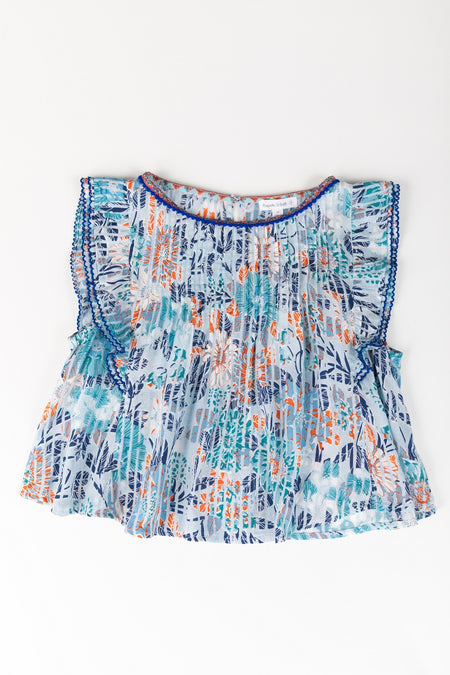 Kids Top Blouse Amber Pleated - Pink Marigold