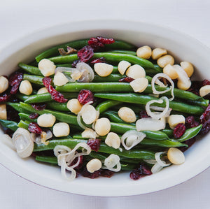 Green Beans with Macadamia Nuts & Dried Cranberries