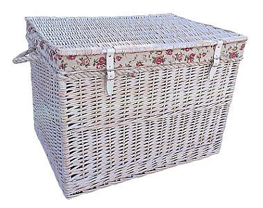 Large White Wash Storage Hamper Garden Rose Lining
