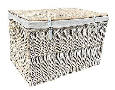 Large White Wash Storage Hamper With White Lining