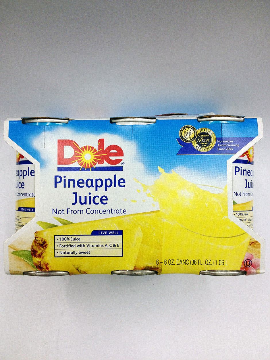 Dole Pineapple Juice 6oz 6 Pack