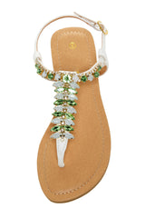 Jeweled Thong T-Strap Sandal