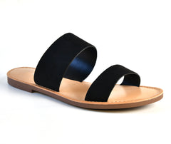Women's Double Band Open Toe Flat Slide Sandals