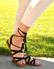 Gladiator Lace Up Flat Braided Black Sandals